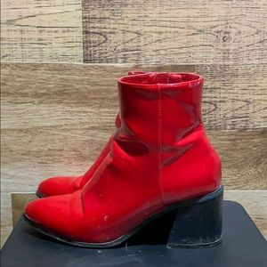Red Patent Ankle Booties
